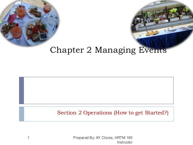 Chapter 2 Managing Events Section 2 Operations (How to get Started?) Prepared By: AY Clores, HRTM 195 Instructor 1