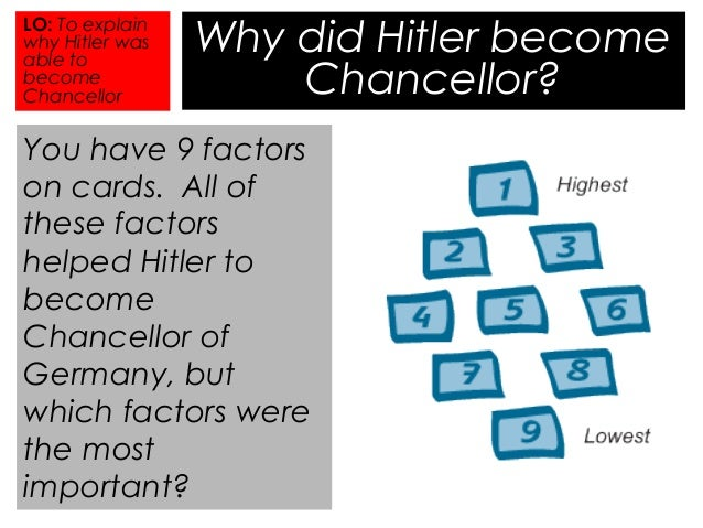 why did hitler become chancellor january 1933 On 30 january 1933, the new cabinet was sworn in during a brief ceremony in hindenburg's office the nsdap gained three posts: hitler was named chancellor, wilhelm frick minister of the interior, and hermann göring, minister without portfolio (and minister of the interior.