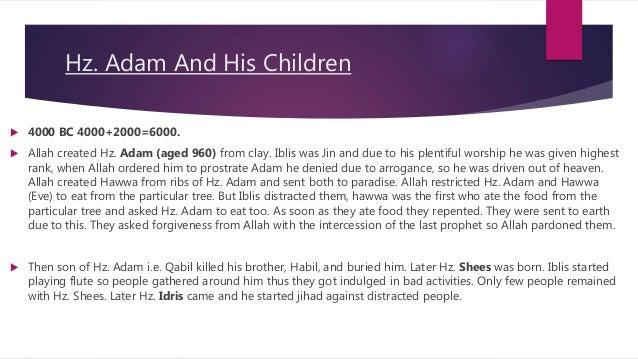 Events of prophets (Hz  Adam to Hz   Essa) Described in