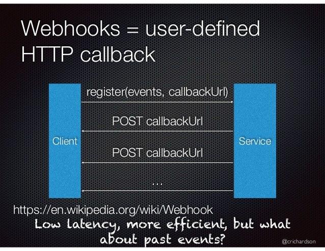 @crichardson Webhooks = user-defined HTTP callback Client Service register(events, callbackUrl) POST callbackUrl POST callb...