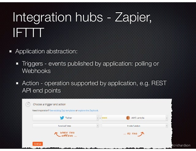 @crichardson Integration hubs - Zapier, IFTTT Application abstraction: Triggers - events published by application: polling...