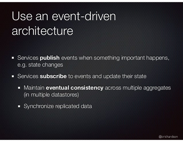 @crichardson Use an event-driven architecture Services publish events when something important happens, e.g. state changes...