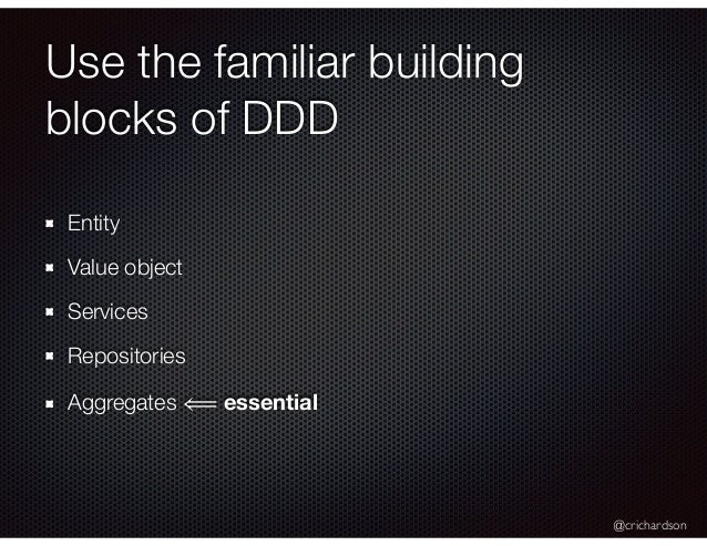 @crichardson Use the familiar building blocks of DDD Entity Value object Services Repositories Aggregates ⟸ essential