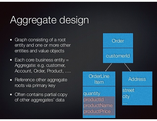 Aggregate design Graph consisting of a root entity and one or more other entities and value objects Each core business ent...