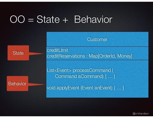 @crichardson OO = State + Behavior creditLimit creditReservations : Map[OrderId, Money] Customer List<Event> processComman...