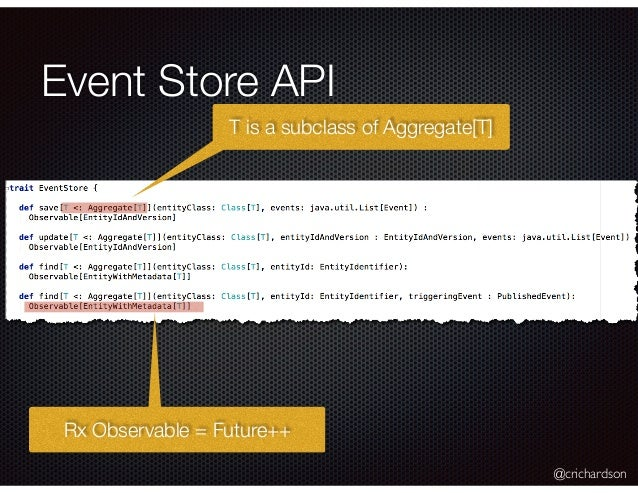 @crichardson Event Store API T is a subclass of Aggregate[T] Rx Observable = Future++