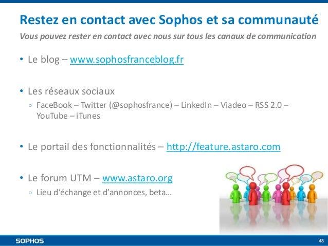 Restez en contact avec Sophos et sa communauté Vous pouvez rester en contact avec nous sur tous les canaux de communicatio...