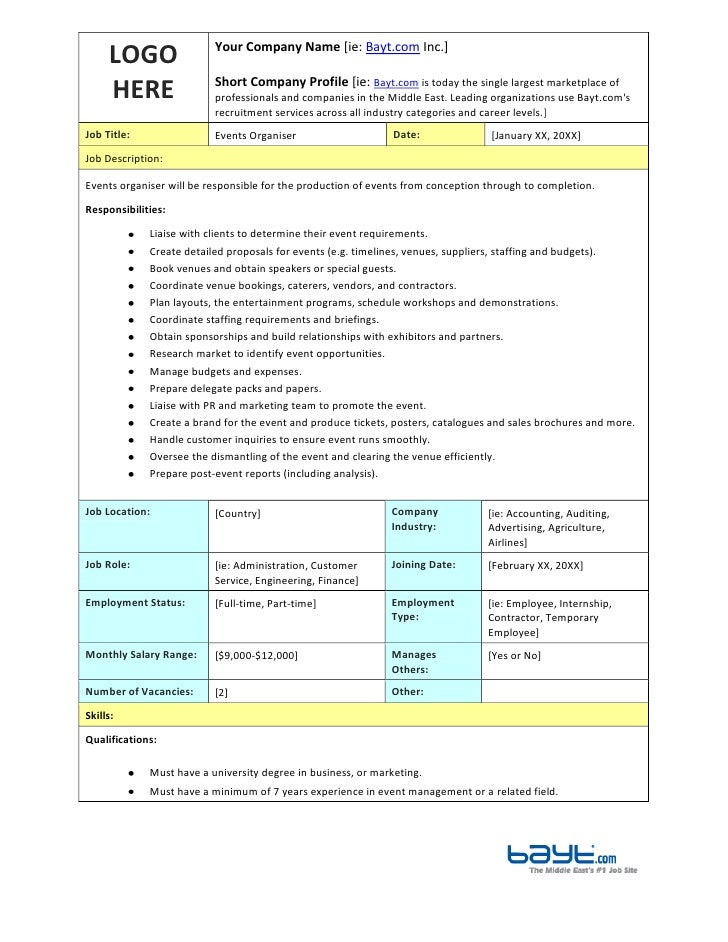 Events organiser job description template by for Events manager job description template