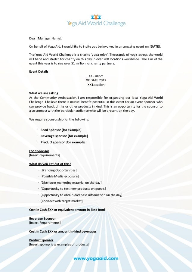 Event sponsorship request document – Proposal for Sponsorship Template