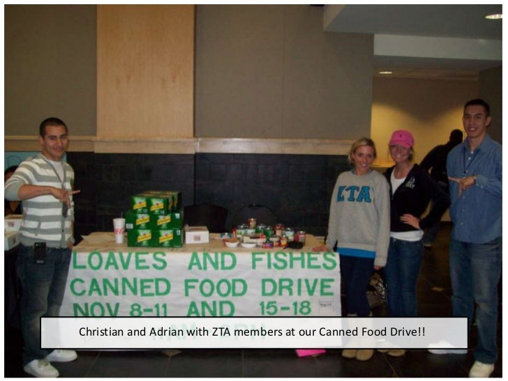 Christian and Adrian with ZTA members at our Canned Food Drive!!<br />