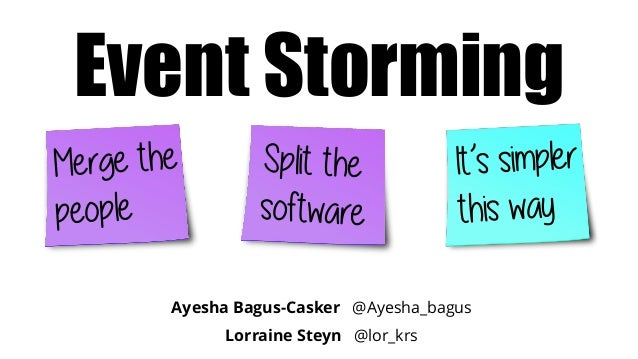 Ayesha Bagus-Casker @Ayesha_bagus Lorraine Steyn @lor_krs Event Storming