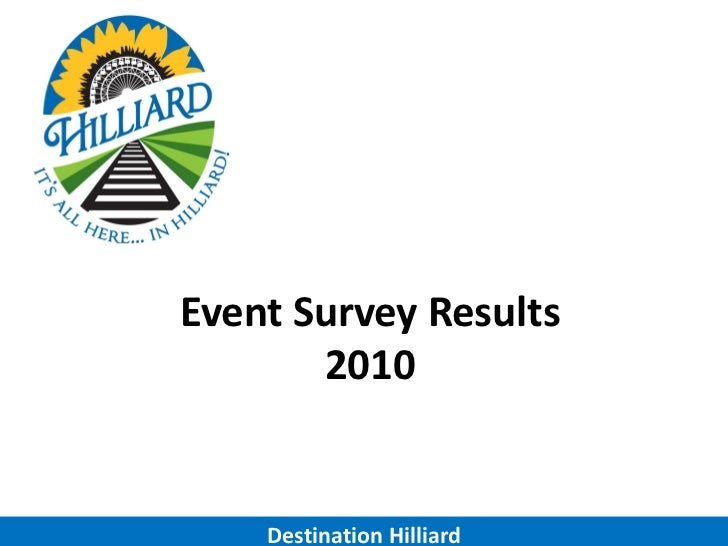 Event Survey Results       2010    Destination Hilliard