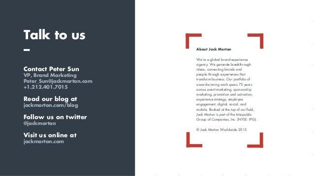 Talk to us – Contact Peter Sun VP, Brand Marketing Peter_Sun@jackmorton.com +1.212.401.7015 Read our blog at jackmorton.co...