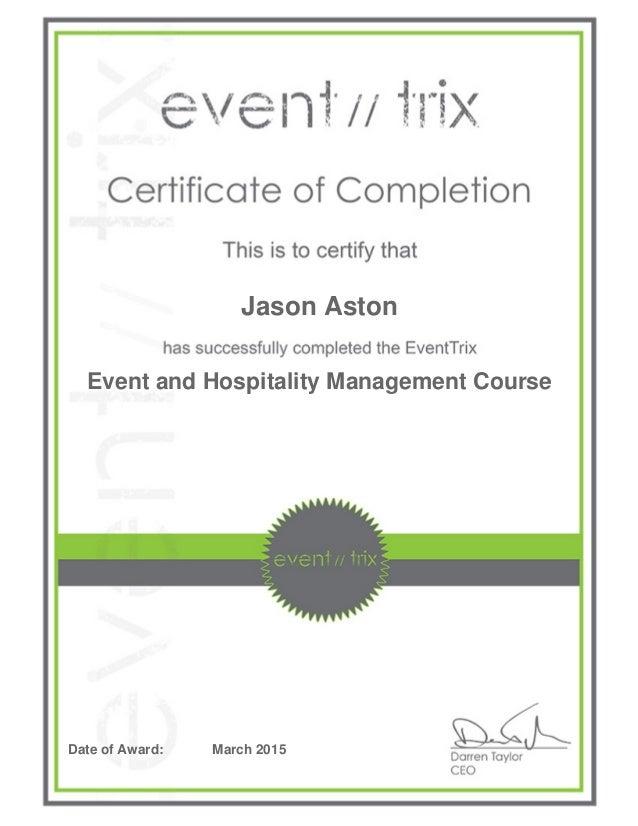 Eventtrix Certificate 65431