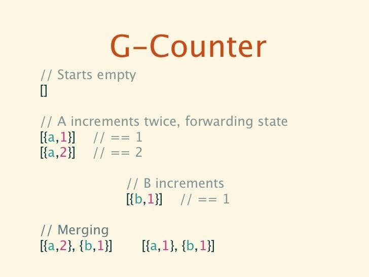 PN-Counter// A PN-Counter{  P = [{a,10},{b,2}],  N = [{a,1},{c,5}]}// == (10+2)-(1+5) == 12-6 == 6