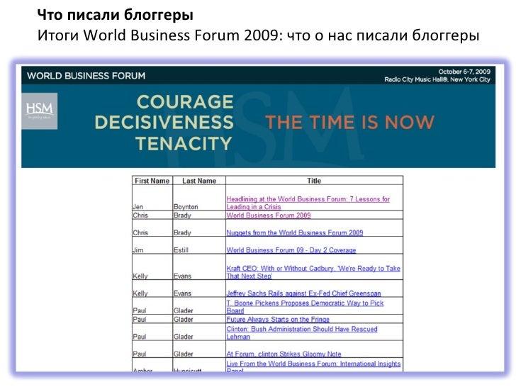 Что писали блоггеры Итоги  World Business Forum 2009:  что о нас писали блоггеры