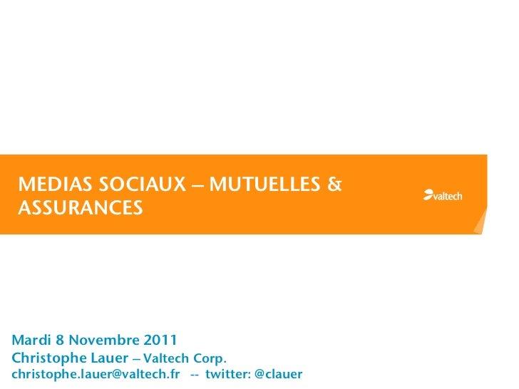 MEDIAS SOCIAUX – MUTUELLES & ASSURANCESMardi 8 Novembre 2011Christophe Lauer – Valtech Corp.christophe.lauer@valtech.fr --...
