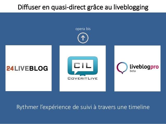 Diffuser en quasi-direct grâce au liveblogging Rythmer l'expérience de suivi à travers une timeline opera bis