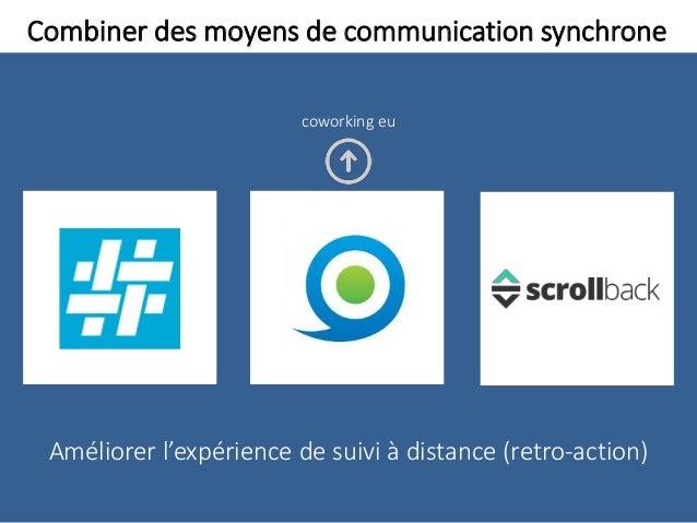 Combiner des moyens de communication synchrone Améliorer l'expérience de suivi à distance (retro-action) coworking eu
