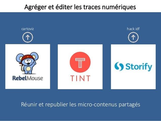 Agréger et éditer les traces numériques Réunir et republier les micro-contenus partagés hack idfcartoviz