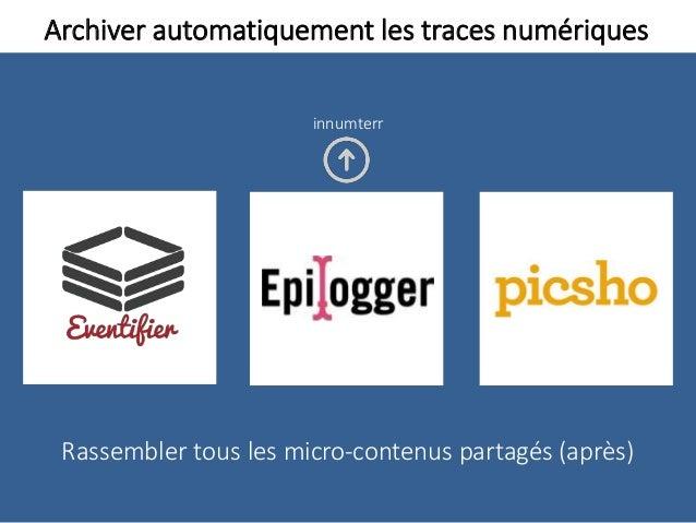 Archiver automatiquement les traces numériques Rassembler tous les micro-contenus partagés (après) innumterr