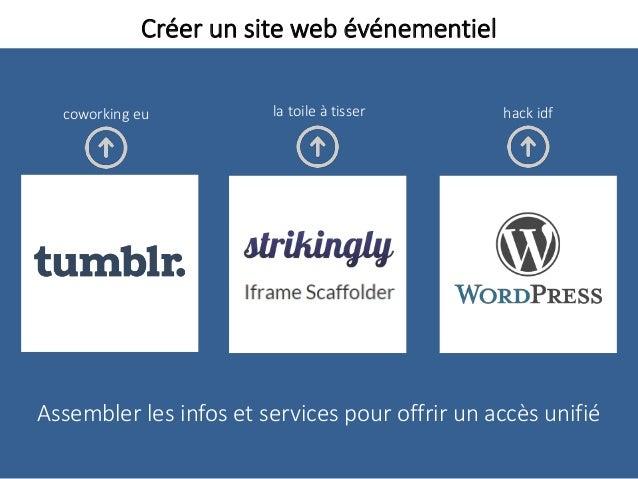 Créer un site web événementiel Assembler les infos et services pour offrir un accès unifié la toile à tisser hack idfcowor...