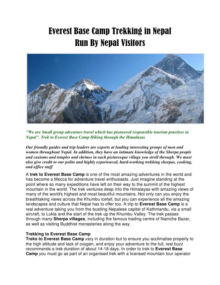 "Everest Base Camp Trekking in Nepal                    Run By Nepal Visitors""We are Small group adventure travel which has..."