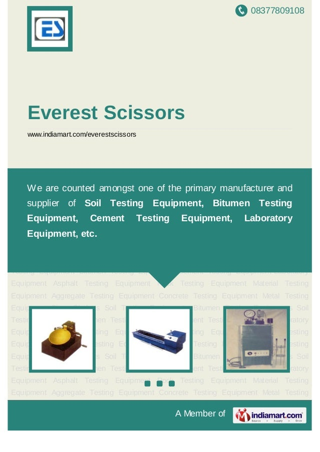 08377809108A Member ofEverest Scissorswww.indiamart.com/everestscissorsSoil Testing Equipment Bitumen Testing Equipment Ce...