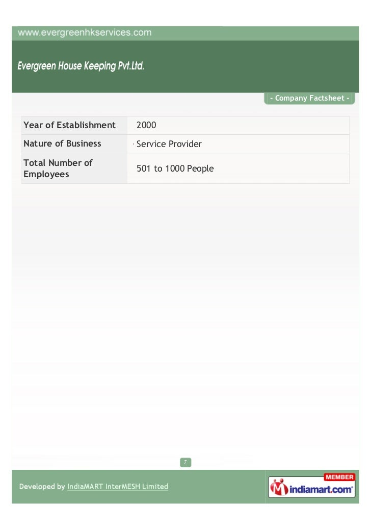 - Company Factsheet -Year of Establishment   2000Nature of Business      Service ProviderTotal Number of                  ...