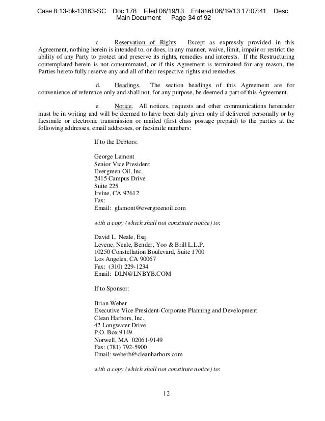 Evergreen oil plan support agreement 11 34 platinumwayz
