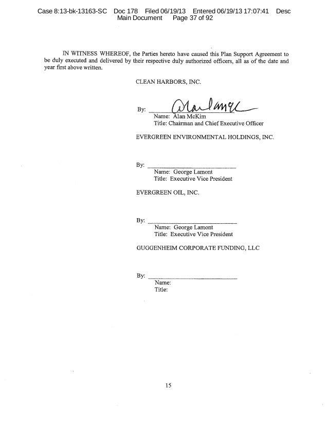 Evergreen oil plan support agreement 37 platinumwayz