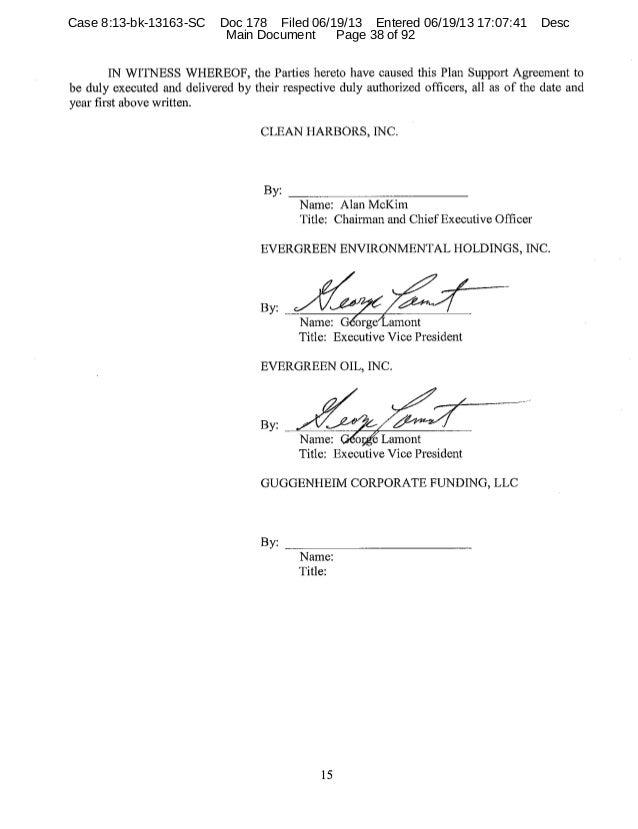 Evergreen oil plan support agreement 38 platinumwayz