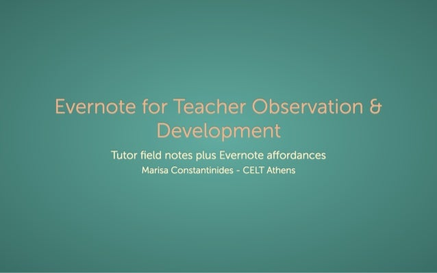 Evernote for Teacher Observation and Development