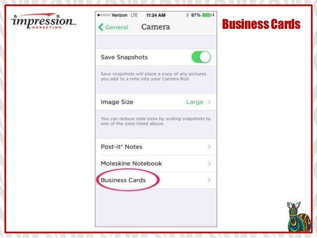 Evernote linkedin app how to save to address book business cards impression marketing go to settings reheart Images
