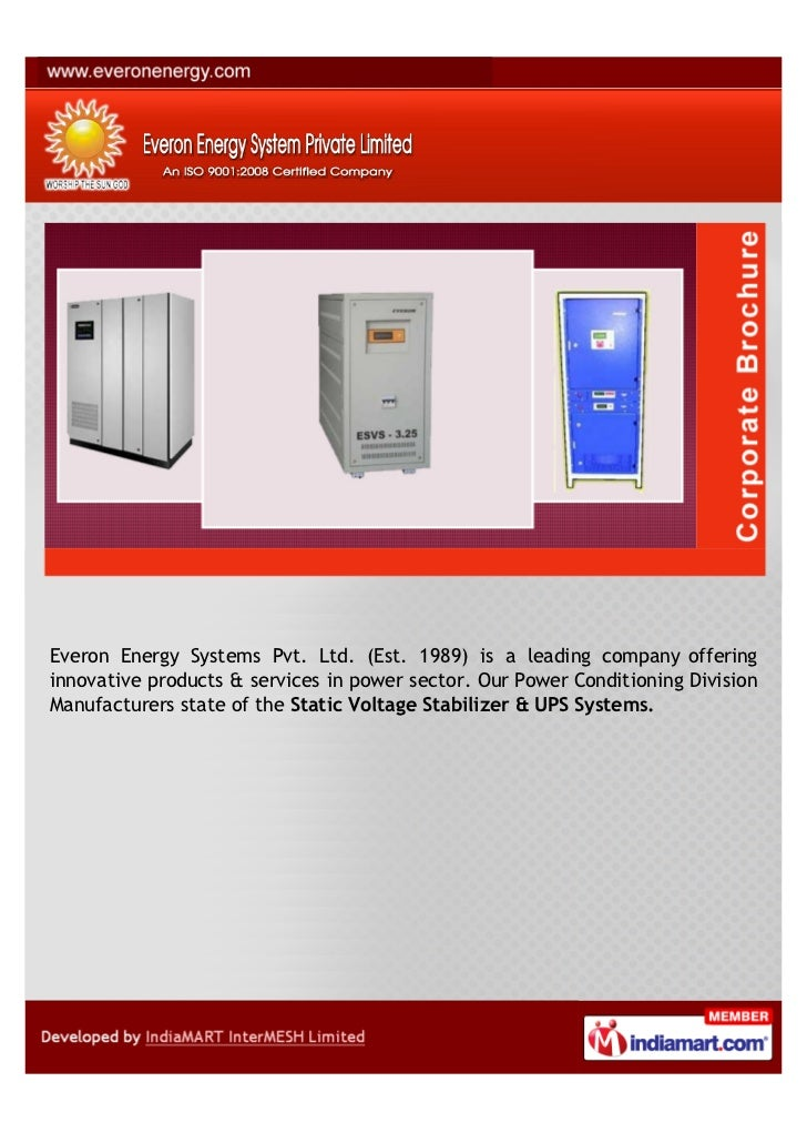 Everon Energy Systems Pvt. Ltd. (Est. 1989) is a leading company offeringinnovative products & services in power sector. O...