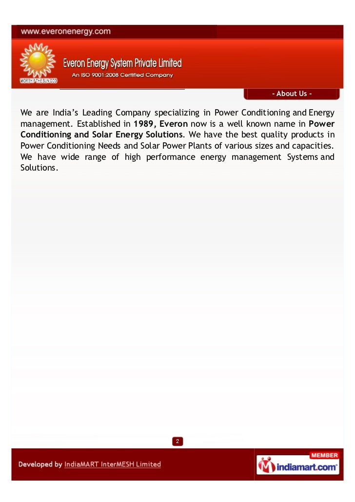 - About Us -We are India's Leading Company specializing in Power Conditioning and Energymanagement. Established in 1989, E...