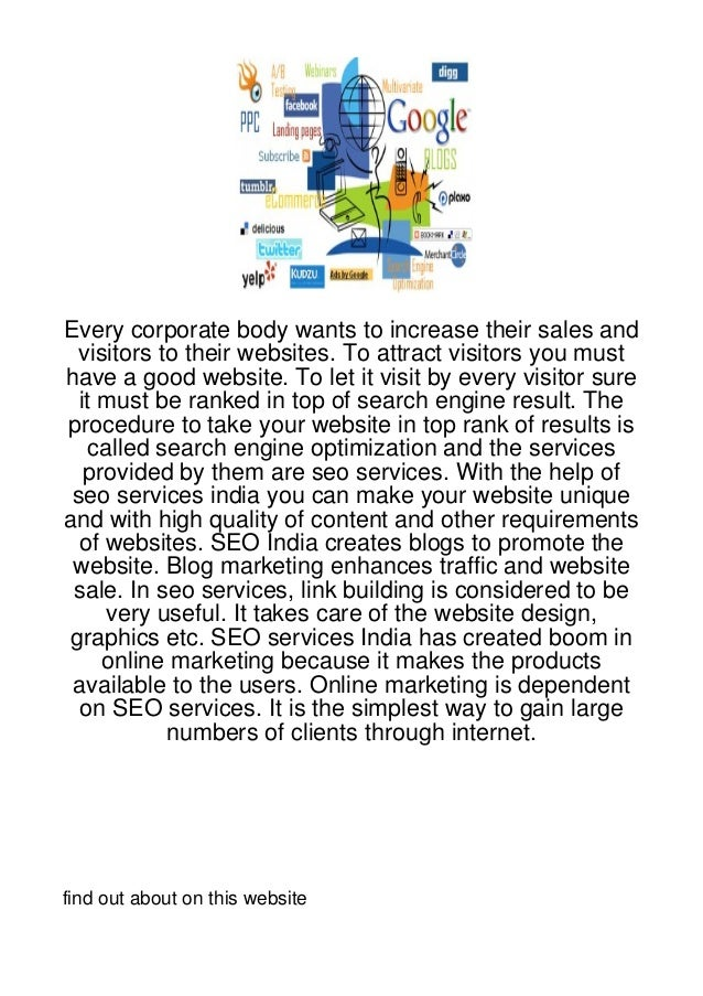 Every corporate body wants to increase their sales and  visitors to their websites. To attract visitors you musthave a goo...