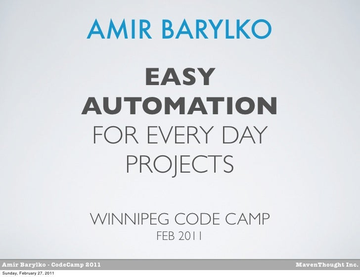 AMIR BARYLKO                                 EASY                            AUTOMATION                             FOR EV...