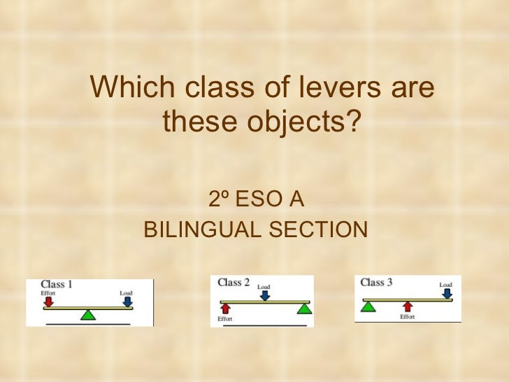 Which class of levers are these objects? 2º ESO A BILINGUAL SECTION