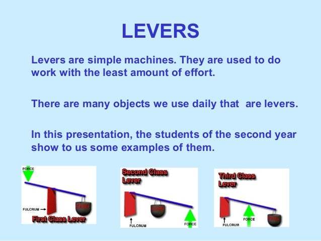 LEVERSLevers are simple machines. They are used to dowork with the least amount of effort.There are many objects we use da...