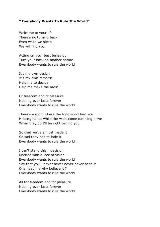 Lyric coldplay viva la vida lyrics : Everybody wants to rule the word - Tears for Fears