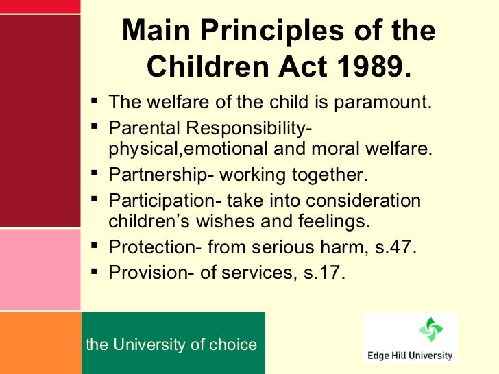 an analysis of the children act of 1989 Children act 1989 ~ disabled child for the purposes  children act 1989 part 3  (sections 17 – 30)  analyse their needs, decide whether the child is a child in.
