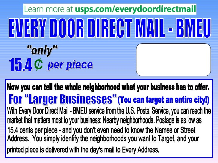 Every door direct mail   business mail entry unit (bmeu)
