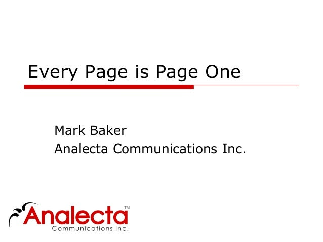 Every Page is Page One  Mark Baker  Analecta Communications Inc.