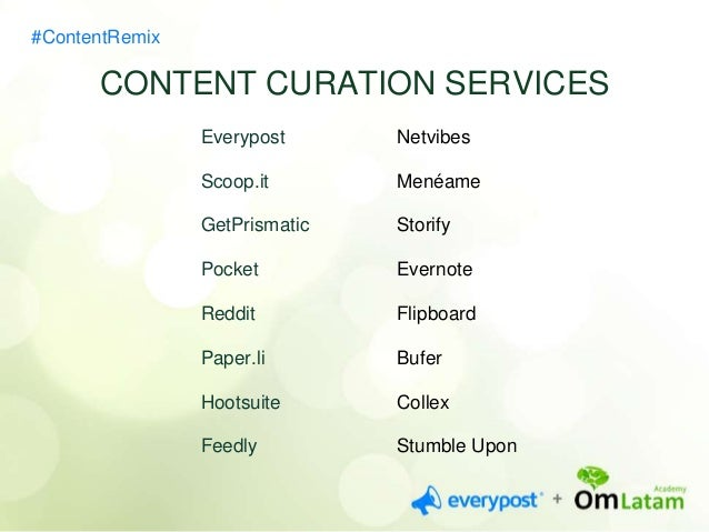 #ContentRemix  AUTOMATIC  TYPES OF TOOLS  aggregation  PERSONALIZED feeds  MANAGEMENT  publishing