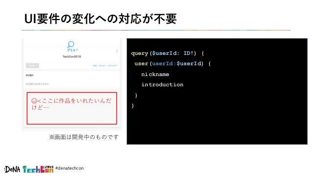 #denatechcon UI要件の変化への対応が不要 query($userId: ID!) { user(userId:$userId) { nickname introduction } } ※画面は開発中のものです 😅<ここに作品をいれ...