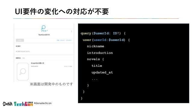 #denatechcon UI要件の変化への対応が不要 query($userId: ID!) { user(userId:$userId) { nickname introduction novels { title updated_at ....