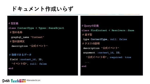 "#denatechcon ドキュメント作成いらず # 型定義 class ContestType < Types::BaseObject # 型の名称 graphql_name ""Contest"" # 型の説明文 description ""公式..."