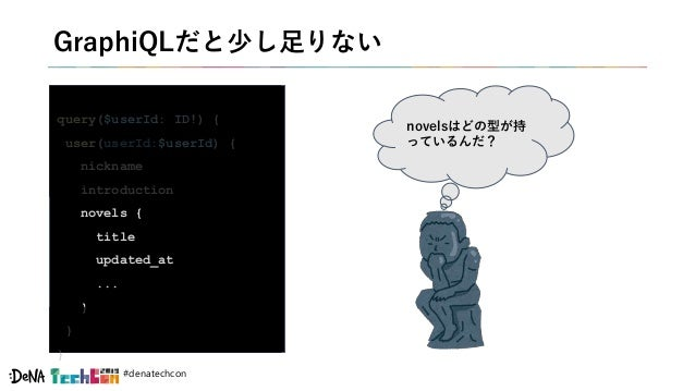#denatechcon GraphiQLだと少し足りない query($userId: ID!) { user(userId:$userId) { nickname introduction novels { title updated_at...