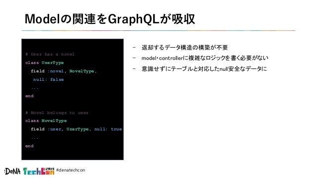 #denatechcon Modelの関連をGraphQLが吸収 - 返却するデータ構造の構築が不要 - model・controllerに複雑なロジックを書く必要がない - 意識せずにテーブルと対応したnull安全なデータに # User h...